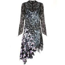 SELF-PORTRAIT Vine Asymmetric Guipure Lace Midi Dress - UK 8 / US 4