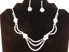 Silver Plated Rhinestone Bridal Flowers Adjustable Necklace & Earrings Set