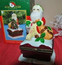 KURT ADLER Porcelain Hinged Box SANTA CLAUS Rabbit