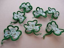 Tatted Shamrocks 7 Green Mint Tatting Crazy Quilts Scrapbooks Cards Applique