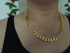 """Never Fade Guarantee Men's 12mm 24"""" 18K Yellow Gold Plated Curb Chain Necklace"""