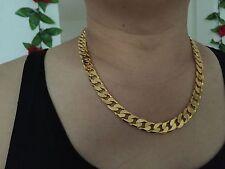 Never Óxido Hombres 12mm 61cm 18 CT Amarillo Collar De Cadena Bañado En Oro
