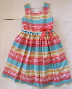 Bonnie Jean Girls Dress Size 12 Summer Party Tea Aqua Salmon Green Striped Lined