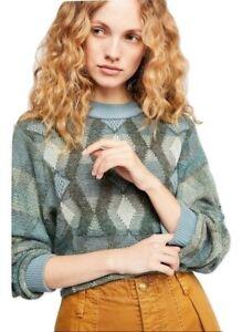 Free People Diamond Days Sweater Green Multi,  Size XS