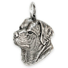 More details for solid sterling silver rottweiler (rotty) dog pendant (handmade uk, also in gold)