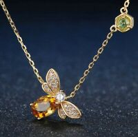 Bee yellow gold tone sterling silver 925 necklace natural citrine peridot