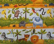 Stoff Zootiere Giraffe Elefant Affe Baumwolle 50 cm x 160 cm Kinder Meterware