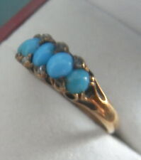 Pretty Victorian Antique Turquoise and Diamond Ring