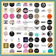100 Precut assorted HIGH END FASHION DESIGNER LOGOS BOTTLE CAP IMAGES Variety