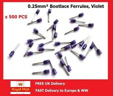 500 x Cordón del brocado Casquillos Alambre Extremo Terminales 0.25mm² Violeta