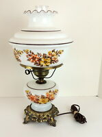 Vintage Hurricane Gone With the Wind Lamp Table Top Dogwood Floral