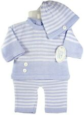 NEW Boys 3 Piece Knit Outfit Set Hat Blue Stripe Boutique Babys Trousseau 6 MO