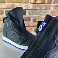 NIKE AIR JORDAN 1 HIGH ZIP BLACK WHITE SAIL HYPER ROYAL BLUE Size 10.5