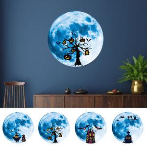 Blue Moon Wall Stickers Luminous Stickers Halloween Decoration Window Door Decal