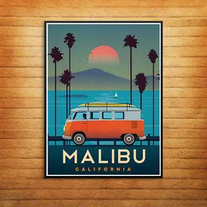 Malibu California VW Camper Print Poster Wall Art A4 A5 A3 Sunset Vintage -1078