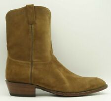Lucchese USA Grant Brown Suede Cowboy Pull On Roper Boots Men's 15