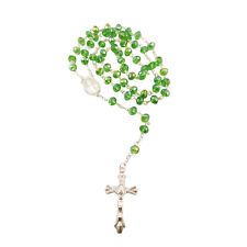 GREEN Crystal Glass Religious ROSARY Necklace With Crucifix