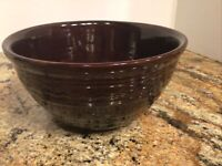"""Vintage MARCREST Daisy Dot Oven-Proof Stoneware Brown 9"""" Mixing Bowl USA"""