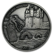 2017 Burkina Faso 1 oz Antique Silver Loch Ness Monster - Sku #150690