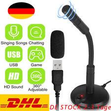 USB Mikrofon für PC und Laptop Kondensator Standmikrofon 360 ° Studio Gaming Neu