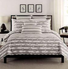NEW Max Studio Stars & Stripes Gray Quilt & Shams 3 Piece Bed Set Full/Queen