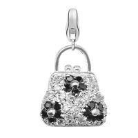 Dream Charms Damen Charm Anhänger 925 Sterling Silber Handtasche mit Zirkonia