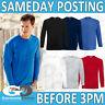 LONG SLEEVE T-SHIRT PLAIN BLANK ADULT WORK TOP SCHOOL UNIFORM SLEEVED PLAIN TEE