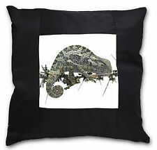 Chameleon Lizard Black Border Satin Feel Cushion Cover With Pillow In, AR-L5-CSB