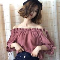 New Summer Women Korean Loose Off Shoulder Chiffon Shirt Short Sleeve Blouse Top