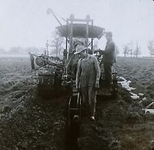 Tractor Digging Ditch, Laying Drain Tiles, Wisconsin, Magic Lantern Glass Slide