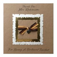 Personalised Thank You Teacher Card Handmade  Thank You Charm