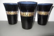 3 S WINDLICHT GLAS schwarz gold, Teelichthalter Banderole, D 5,5-9,5 c m, L 12,5