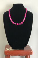 Vintage Necklace Graduated Cerise Pink Gold Tone Beads Fun Retro Kitsch Costume