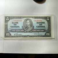 1937 Canadian 5 Dollar Bill  EF-AU