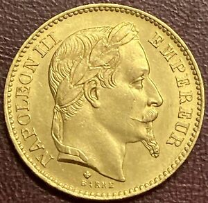 France - Napoleon III 20 Francs Gold Coin, Strasbourg - 1866 BB (GY10)