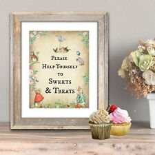 Peter Rabbit & Friends 'Sweets & Treats'  A4 Card Sign - Frame Not Included