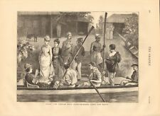 1877 ANTIQUE PRINT - INDIA - POONAH BOAT CLUB - BRINGING DOWN THE BOATS