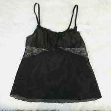 New! Gilligan & O'Malley Black Sheer Lace Trim Stretch Cami Top SEXY sz. Large