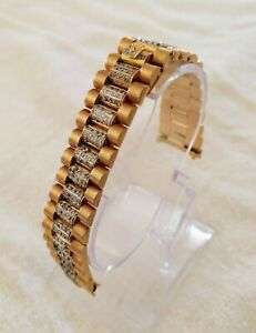 Mens Rolex President 18k YG Pave Diamonds Bracelet Band