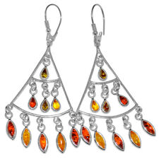 11.34g Authentic Baltic Amber 925 Sterling Silver Earrings Jewelry N-A8216