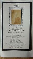 Carte commémorative à la mémoire du Pape Pie IX, photo d'époque, 1878