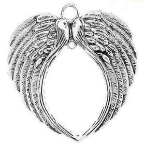 Angel Wing Religious Silver Tone Charm Pendant C1719 20 PCS