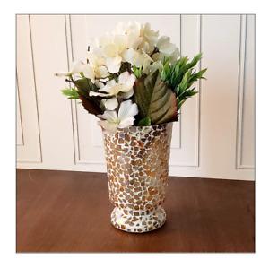Beautiful Glass Vase Decorative Modern Design for Home Décor / Gold Mosaic Vase