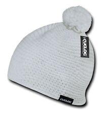 White Knit Braid Warm Winter Woven Ski Cuffless Crochet Pom Pom Beanie Cap Hat
