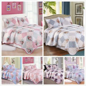 3 Pieces Microfiber Reversible Queen/King Quilt Set with Shams, Floral Patchwork