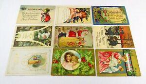 Lot of 9 Vintage Christmas Postcards Letters Some Written On Santa Children Toys