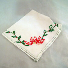 Vintage Christmas Handkerchief Holly Embroidery Hanky Holidays