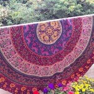 Bohemian Mandala Round Beach Tapestry Hippie Throw Yoga Mat Towel Roundie
