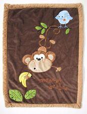 Koala Baby Brown Monkey Around Plush Sherpa Baby Blanket Blue Bird Banana
