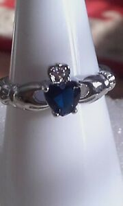 Simulated blue sapphire heart & cz claddagh 925 silver plated ring sz O 1/2